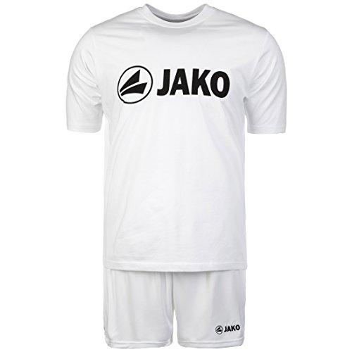 JAKO Trainings-Set kurz | 2er-Set mit Shirt und Shorts | Performance Sport-Bekleidung aus Funktionsmaterial | 5 wählbare Farben für Herren und Damen | Fußball-Trikot, Trainings-Hose weiß, M