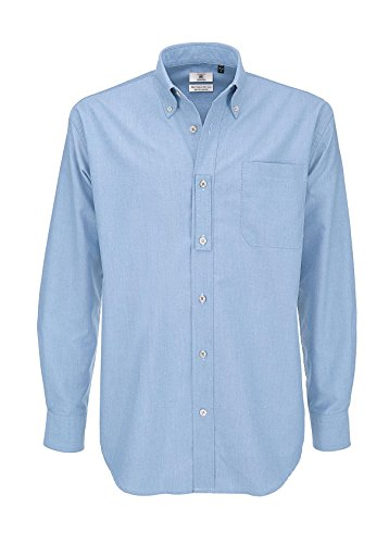 B&c shirt, camicia casual uomo, (oxford blue), xxxx-large