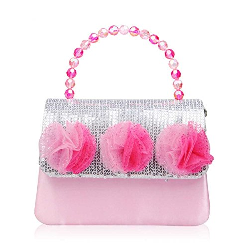 Carino Ragazza Messaggero Delle Donne Borsa Borsa Tracolla Bambini Sacchetto Del Pranzo Di Modo Del Sacchetto Di Fiori Colorati Pink
