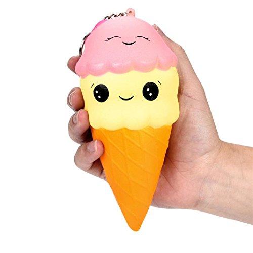 fat. chot 13cm weich Squishy Eis doppelte Bälle Emoji-Duft Cartoon Lebensmittel langsam Rising Squeeze lindert Stress Spielzeug Schlüssel Ring Telefon Kette Geschenke für Kinder - Emojis Stress-bälle