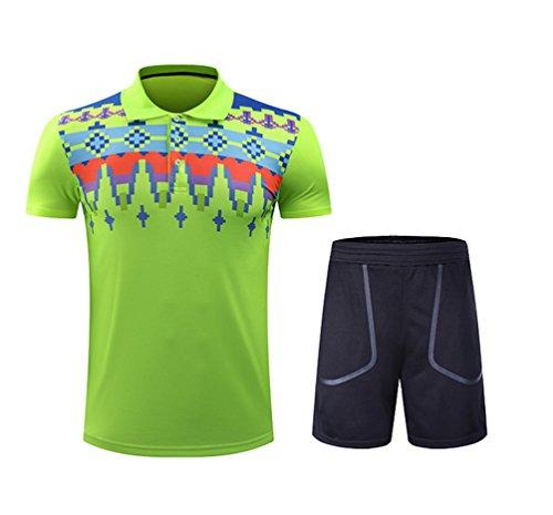 Kuncg Schnell Trocken Badminton Tragen Anzug Atmungsaktiv Sportswear Benutzerdefinierte Kurzarm-Shirt Für Herren und Jungen Grün XL