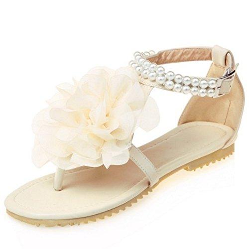 TAOFFEN Damen Bohemia T-Spange Flip Flop Flach Strand Sandalen mit Blume 850 Beige
