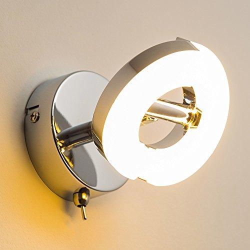 LED Wandspot für den Flur - LED Wandlicht für das Wohnzimmer - moderner Lichtspot mit einer gemütlichen, warmweißen Lichtfarbe mit 3000 Kelvin - Metallleuchte aus Chrom und Kunststoff in Weiß