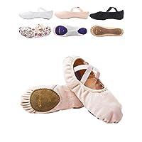 s.lemon Elasticated Canvas Ballet Dance Shoes Stretch Ballet Slippers Flats Pumps for Girls Kids Women
