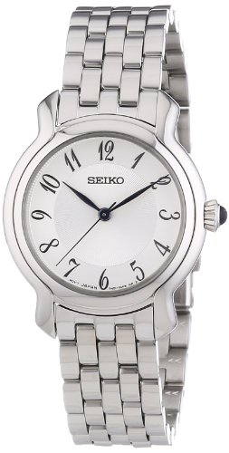 SRZ391P1 Seiko Women's Quartz Analogue Watch-White Face-Grey Steel Bracelet