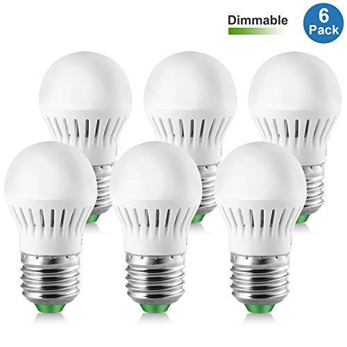Elrigs LED Lampe 5W ersetzt 40W, dimmbar, E27, Kaltweiß (6000 Kelvin), Mini Größe Dm. 40 mm, 450 Lumen, 6er Pack