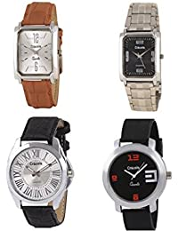 Crazeis Stylish Round Dial/Case With Leather Strap Analog Watch Combo Of 2 Pcs. For Men/Boys (New Collection)