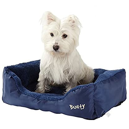 Deluxe Soft Washable Dog Pet Warm Basket Bed Cushion with Fleece Lining - Blue - Small 1