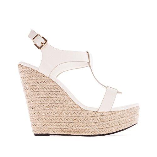 Andres Machado. AM5129.Chaussures Compensées T-Bar en Soft. Petites et Grandes Pointures 32/35-42/45. Blanc
