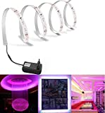 Salcar Wasserfest 5m LED Streifen Set Lila 300 LEDs Lichtband mit 12V Netzteil 3528 SMD IP65 LED Strip Kit Licht Band Leiste Lichtleiste