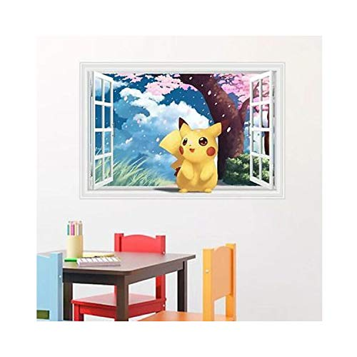 on Window View Wall Art Sticker Decal Kids Room Mural Child Gift Anime Wall Decals Poster 3D ()