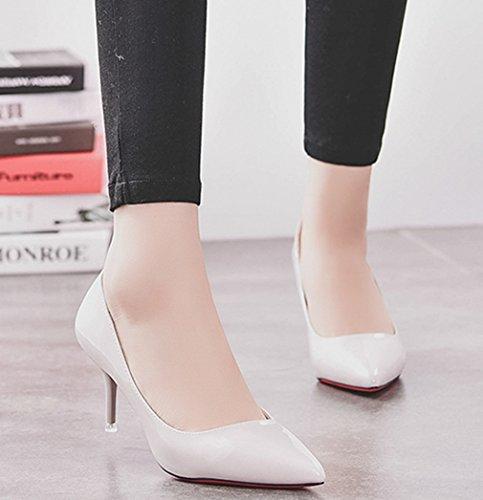 Damen Pumps Spitz Zehen Slip on High-Heels Lackleder Einfach Klassisch OL Atmungsaktiv Strapazierfähig Büro Freizeit Stiletto Hellgrau