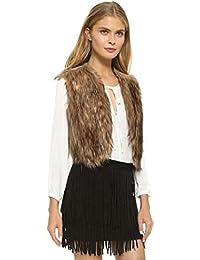 Malloom® nuevo mujeres chaleco sin mangas Prendas de abrigo largo pelo Chaleco Chaqueta (XXXL(EU44))