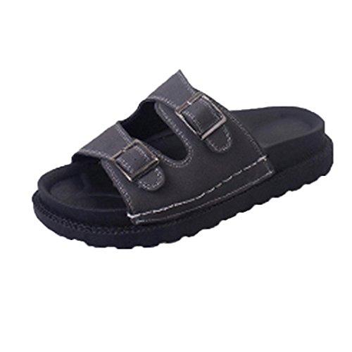 BZLine® Frauen Sommer Leder Strand-schicke Flip Flops Sandalen Hausschuhe Grau