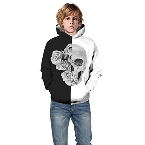 Moneycom Kapuzen-Sweatshirt mit Kapuze, für Kinder, Jungen, Mädchen, Halloween, Retro, Patchwork, Antike Fee, Schwarz Gr. 7-8 Jahre, Schwarz