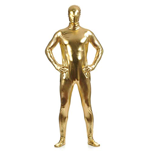 Kostüm Morph Mann - IWEMEK Herren Leder Jumpsuit Wetlook Kunstleder Full Bodysuit Catsuit Glänzed PVC Overall Bodys Zipper Clubwear Männerbody Zentai Kostüm Karneval Erwachsene Ganzkörperanzug Nachtwäsche Gold XL