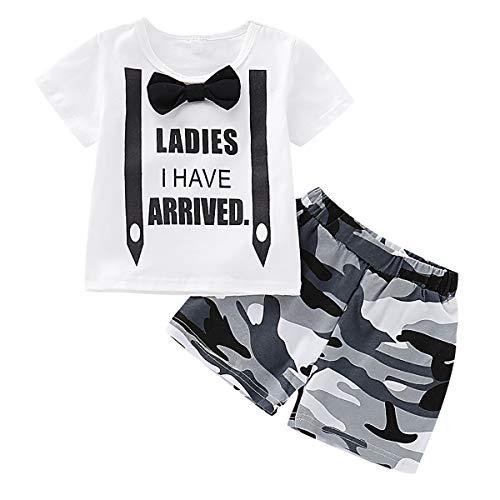 Haokaini Baby Jungen Bowtie Strap T-Shirt Shorts Set, Tanktops Camo Hosenanzug für Kleinkinder