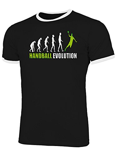 Handball Evolution 742 Fanshirt Shirt Tshirt Fanartikel Fanshirt Männer Sportbekleidung Herren Ringer T-Shirts Schwarz Weiss Aufdruck Grün L