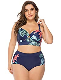 32c664b944b FeelinGirl Women's Plus Size Ruffles Push up Bikini Set Floral High Waisted  Swimsuit