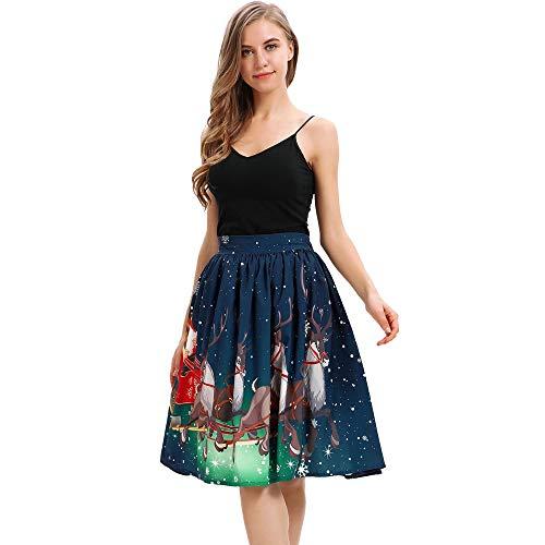 MIRRAY Damen Mädchen Röcke Reich Weihnachten Lustige Nette Mode Gedruckt Elastische Hohe Taille A-Line Plissee Cosplay Ballkleid Party Rock (Pixi-beleuchtung)