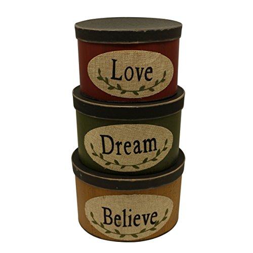 CVHOMEDECO. Juego de 3 cajas de cartón ovaladas para nido con texto en inglés «Love Dream Believe Collectibles», tamaño grande, 25,4 x 20,3 x 17,8 cm