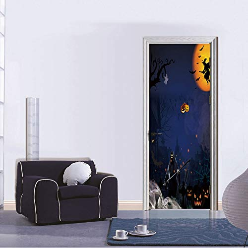 lloween 3D Tür Aufkleber DIY Wandbild Selbstklebende Tapete Abnehmbare wasserdichte Poster Aufkleber Wohnkultur Aufkleber 77X200 cm ()