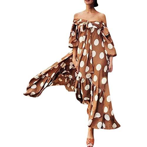 Sexy Off Shoulder Maxikleider Rockabilly Kleid Polka Dot Vintage Lang Kleid Swing Große Größe Schwarz Weiß Sommerkleider Partykleid Boho Elegant Kleider Cocktailkleid Strandkleid (Braun.XXXXL)