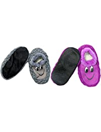 Neska Moda Premium Pack Of 2 Pairs Soft Cotton Kids Purple And Grey Booties Cum Indoor Slippers For 2 To 4 Years
