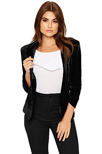 WEARALL Femmes Velour Equipé Blazer Veste Dames Doublé Loungeue Manche Faux Poche - 36-44 Noir