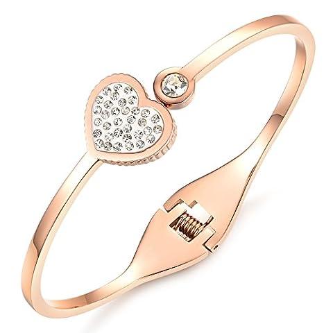 HUGS & MORE Designer Rose Gold Bangle Cuff Bracelet Zirconia Crystal Diamond Encrusted Heart Hypo Allergenic Stainless Steel