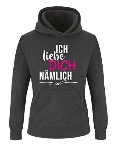 Comedy Shirts - Ich Liebe Dich nämlich - Mädchen Hoodie - Schwarz/Weiss-Pink Gr. 110/116