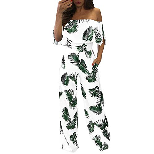 Schulterfrei Tropical Leaf Printed Jumpsuit Damen Sommer Beiläufige Kurzarm Sparkly Loose Strampler Playsuit Weite Hosen (Color : Green, Size : S)