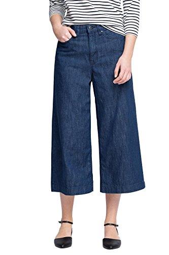 edc by ESPRIT Damen Weites Bein Jeanshose im Culotte - Stil, Gr. W26, Blau (BLUE DARK WASH 901)