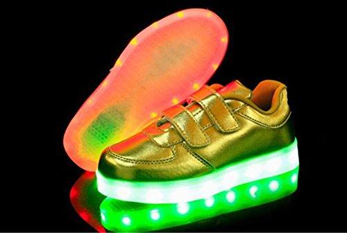 [Present:kleines Handtuch]JUNGLEST® Kinder Jungen Mädchen LED Schuhe Leuchtend Sneaker Farbwechsel Fluorescence Turnschuhe Sportsschuh Gold