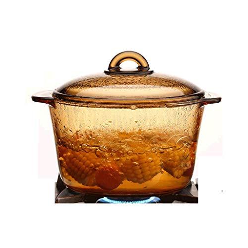 Olla JXLBB Sopa de Vidrio Transparente Alta Temperatura Hogar Fuego Vidrio cocido al Vapor Pote de ámbar Alto Borosilicato