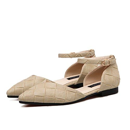 Damen Sandalen Geschlossen Spitz Zehen mit Gummi Sohlen Strapazierfähig Rutschhemmend Knöchelriemchen Schick Sommerlich Schuhe Aprikose