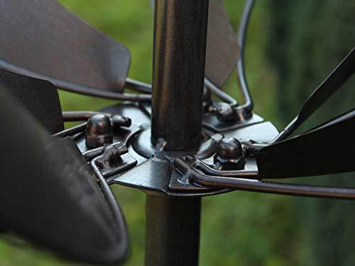 HAFIX Windrad Metall Windspiel Metallwindrad Doppelwindrad Gartendeko rund Wind Mühle mit Erdspieß - 5