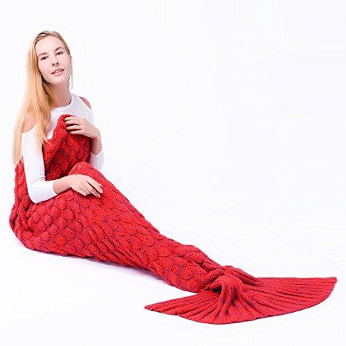 Manta de la cola de la sirena para los adultos Hecho a mano Tejido cálido salón sofá lanza perfecto manta de regalo de Navidad 190cmX90cm (adultos, S-12-Rojo)