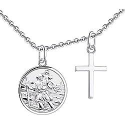 FJ Pendentif Saint Christophe et Croix en Argent Sterling 925 avec chaîne de 18 pouces pour Femme Enfants