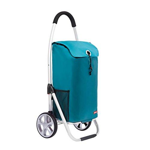 Faltender Trolleywagen leichter Aluminium Einkaufswagen multifunktionale Push-Einkaufswagen, 100 * 46 * 20,5 cm ( Color : Blue )