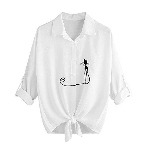 Kleidung Damen Bestickt Katze Langarm Button Top MYMYG Frauen Bestickt Katze verknotet Hem Shirt Langarm Bluse Button Tops(Weiß,EU:42/CN-2XL) Button Trench Jacke