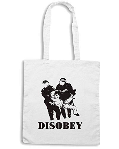 T-Shirtshock - Borsa Shopping WC0323 Disobey Police Bianco