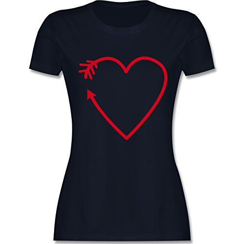 Romantisch - Herz Pfeil - tailliertes Premium T-Shirt mit Rundhalsausschnitt für Damen Navy Blau