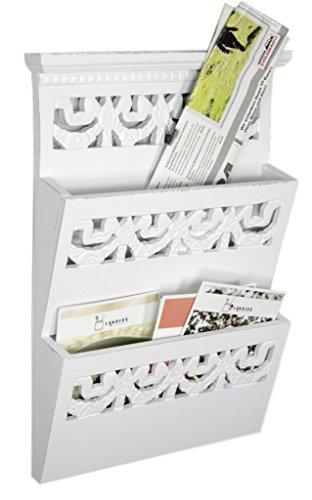 elbmöbel 34x28x6cm Zeitungshalter Wand für die Post, Magazine, Dokumente in weiß aus Holz Zeitungsständer mit zwei Ablagen | Dokumentenhalter