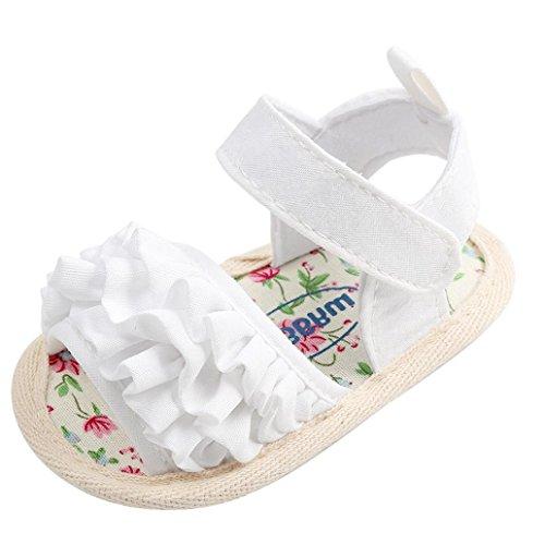 LuckyGirls Baby Sandalen Schuhe Blume Freizeitschuhe Sneaker Anti-Rutsch weiche Sohle Kleinkind Schuhe Lauflernschuhe (0~6 Monate, Weiß) -