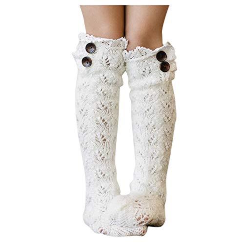 Lenfesh Wintersocken Damen Overknee Strümpfe Strick Mädchen Beinwärmer Stulpen Legwarmers Grobstrickstulpen Winter Warm Christmas Leg Zopfmuster gestrickt häkeln hohe lange Socken Leggings -