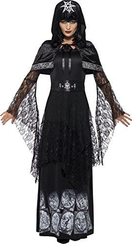Smiffy's 45570S - Damen Magisches Mätressen Kostüm, Kleid, Gürtel und Umhang, Größe: 36-38, schwarz (Halloween Kostüme Ideen Für Jugendliche)