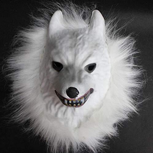 FIREWSJ Halloween Maske Cosplay Halloween Kostüm Realistische Pelzmähne Latex Maske Gruseltier Tiger/Löwe/AFFE/Wolf Partern Full Face (Eine Realistische Wolf Kostüm)