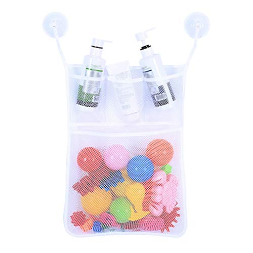 PowerBH Badespielzeug Organizer Quick Dry Badewanne Mesh Net Massive Baby Spielzeug Vorratsbehälter Soap Pockets Aufkleber und Saughaken Weiß -
