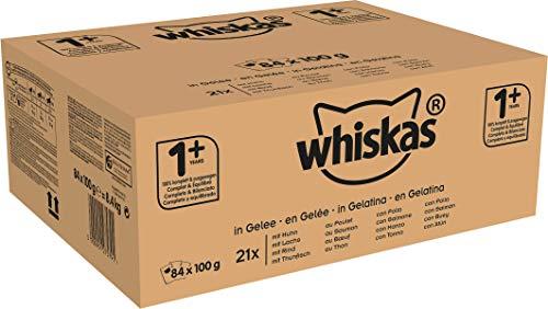 Whiskas Katzen-/Nassfutter Fisch- und Geflügelauswahl in Gelee, Adult 1+, Huhn, Rind, Thunfisch, Lachs (84 x 100g)